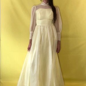 60's pale yellow maxi dress